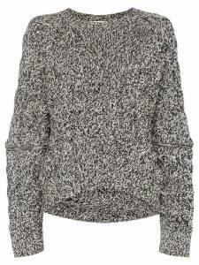 Alexander McQueen zip-sleeve chunky sweater - Black