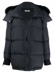 Fendi fox-fur trimmed coat - Black