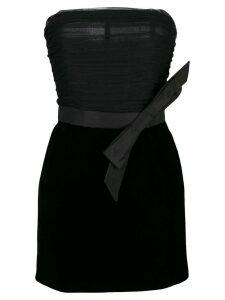 Saint Laurent bow velvet bustier dress - Black
