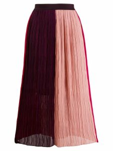 Semicouture colour-block plissé skirt - Pink