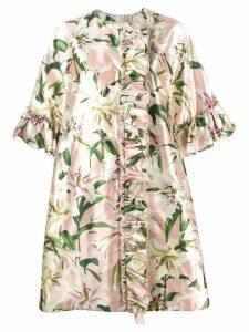 Dolce & Gabbana floral ruffle coat - Pink