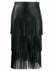 Karl Lagerfeld fringed leather skirt - Black
