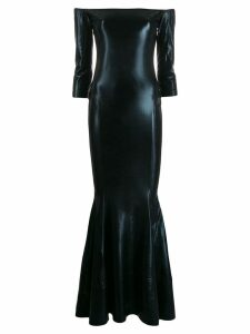 Norma Kamali off shoulder sheen maxi dress - Black