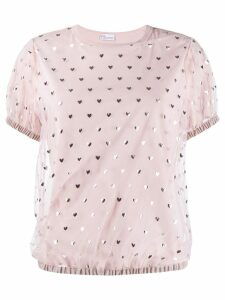 Red Valentino love heart mesh top - Pink