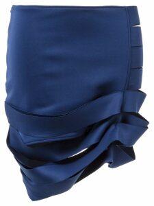 Gloria Coelho gathered cut-out pencil skirt - Blue