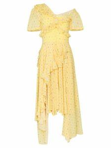 Preen By Thornton Bregazzi Kennedy ruffle tiered midi dress - Yellow