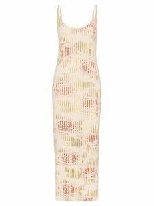 Paco Rabanne floral ribbed midi dress - Multicolour