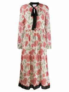 Red Valentino poppy print silk dress - Neutrals