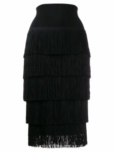 Norma Kamali fringed tiered midi skirt - Black