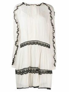 Twin-Set lace trim dress - White