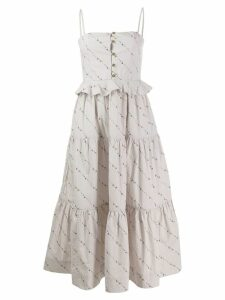 Ganni printed poplin dress - Grey