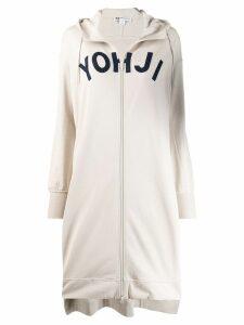 Y-3 asymmetric hoodie coat - Neutrals