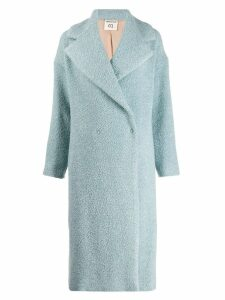 Semicouture double-breasted textured coat - Blue