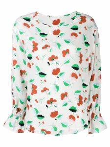 Essentiel Antwerp Tiesto ruffle sleeve floral blouse - White