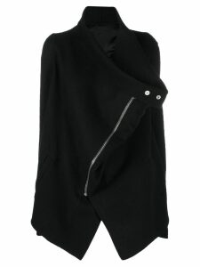 Rick Owens asymmetric zipped coat - Black