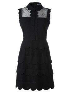 Red Valentino sleeveless scalloped detail dress - Black
