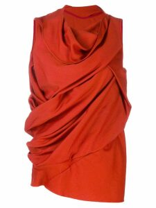 Rick Owens draped sleeveless blouse - Red