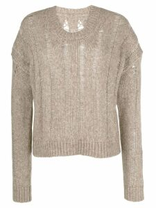 Uma Wang distressed ribbed jumper - Neutrals