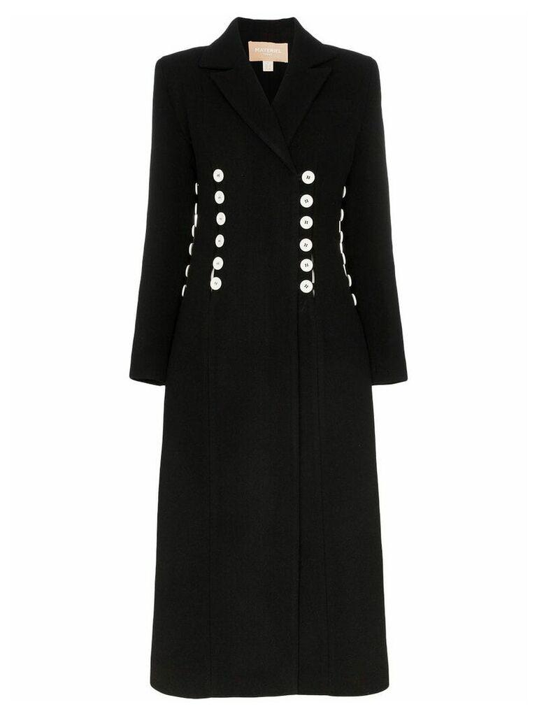 Matériel double-breasted buttoned long coat - Black