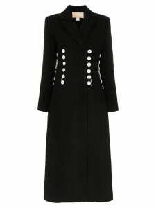 Matériel double-breasted buttoned long coat - Black