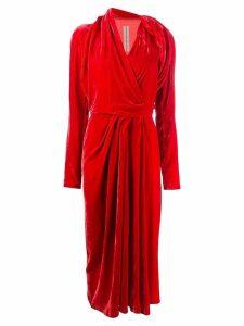 Rick Owens velvet wrap dress - Red