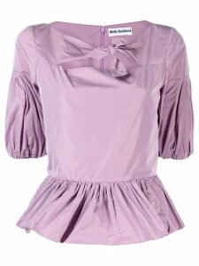 Molly Goddard keyhole ruched blouse - Purple