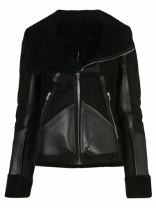 Rick Owens panelled shearling biker jacket - Black