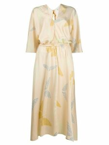 Forte Forte satin butterfly print dress - Neutrals