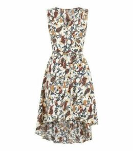 Mela Off White Paisley Dip Hem Wrap Dress New Look