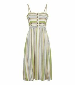 Cameo Rose Green Stripe Midi Dress New Look