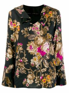 LIU JO floral flared blouse - Black