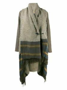 Uma Wang panelled fringed cardi-coat - Neutrals