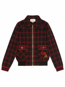 Gucci Check wool bomber with patches - Black