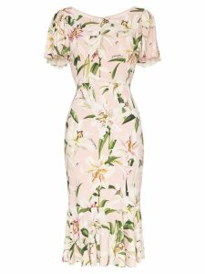 Dolce & Gabbana Lily print flounce dress - PINK