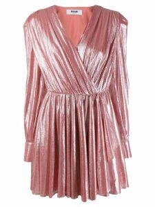 MSGM pleated metallic dress - Pink
