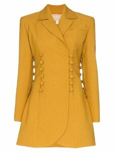 Matériel buttoned long-line blazer - Yellow