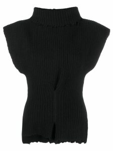 Unravel Project roll neck asymmetric knit top - Black