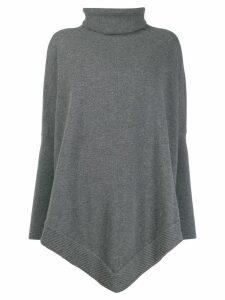N.Peal roll neck poncho jumper - Grey