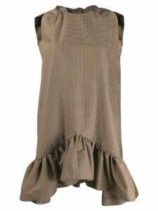 MSGM houndstooth print bow dress - Neutrals