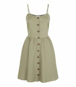 Apricot Khaki Button Up Skater Dress New Look