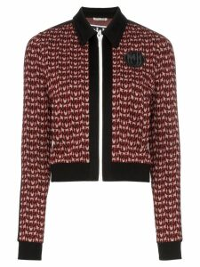 Miu Miu logo jacquard zip-up jacket - Black