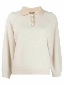 N.Peal contrast collar polo top - Neutrals