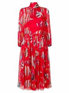 Dolce & Gabbana Fish print midi dress - Red