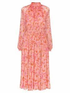 byTiMo smocked-waist floral midi-dress - Pink