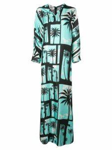 Fausto Puglisi palm tree print maxi dress - Blue