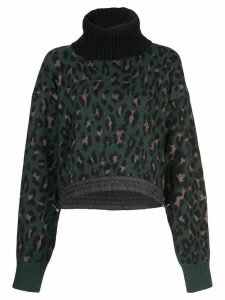 Sacai leopard print jumper - Green