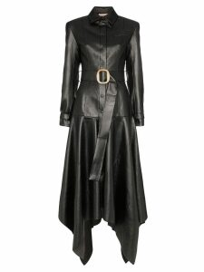 Matériel faux leather belted coat - Black