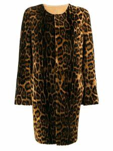 Yves Salomon leopard print shearling coat - Brown