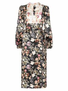 byTiMo contrasting-bib floral midi-dress - Black