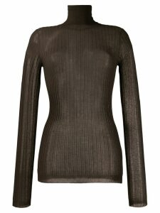 Bottega Veneta ribbed roll neck top - Brown